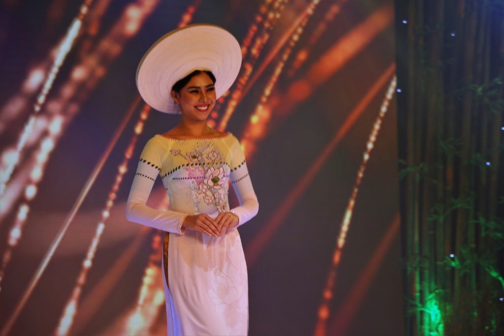A Vietnamese Model wearing the Ao Dai during the opening night of the ITE HCMC