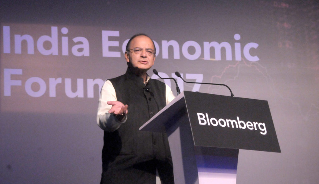Arun Jaitley delivering the keynote address, at the India Economic forum (PC: PIB)