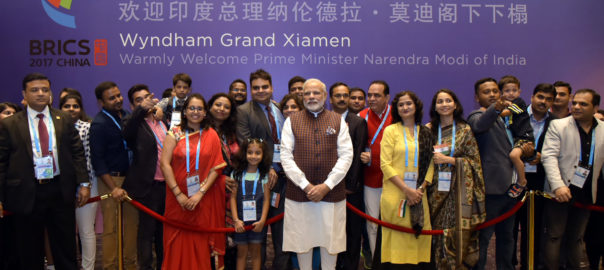 Indian diaspora in China welcomed PM Modi on his arrival  Photo courtesy: PIB India