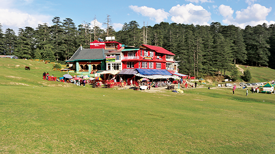The Pir Panjal range; Kiosks offering traditional Himachali cuisine, but also an Indian version of Chinese cuisine in the Khajjiar Valley