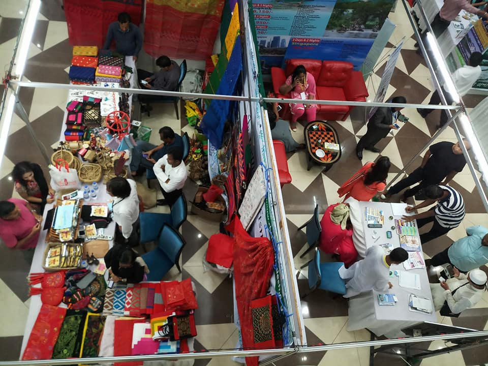 A top view of the crowded tourism fair