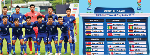 (From left to right) Indian U-17 National team at the BRICS U-17 Football Tournament; FIFA U-17 World Cup India 2017 group chart