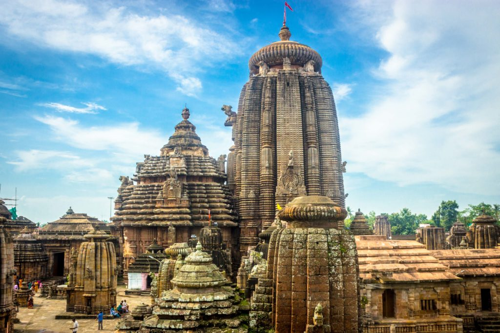 The Lingaraj Temple in Bhubaneswar, one of the major tourists attractions of Odisha