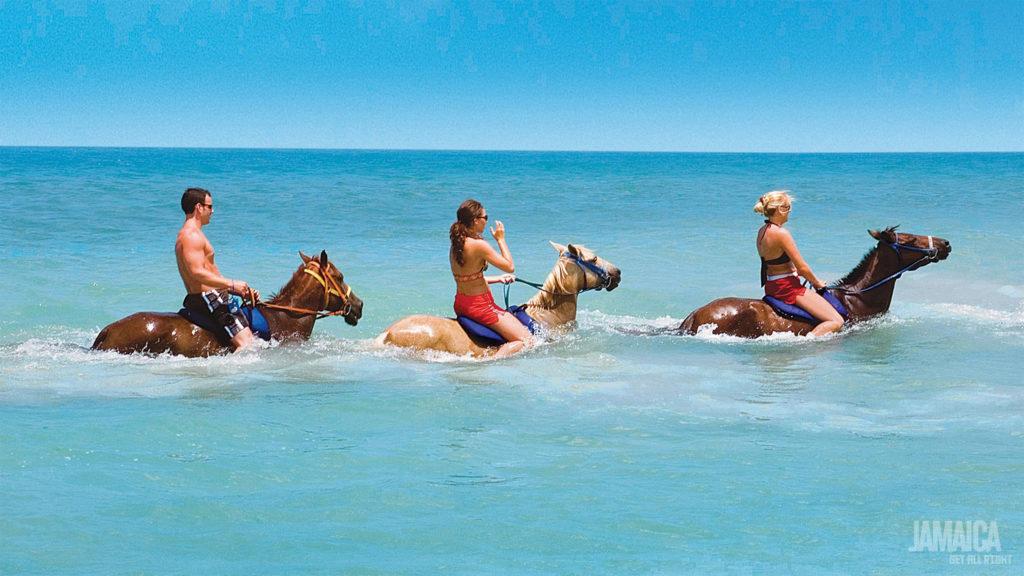 Horseback Ride 'n' Swim in the Caribbean sea, a speciality of Jamaica