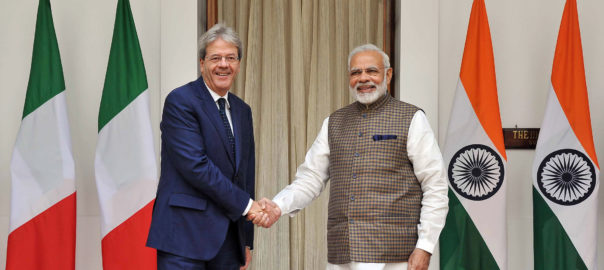 Indian PM, Narendra Modi with the PM of the Republic of Italy, Paolo Gentiloni, at Hyderabad House, in New Delhi (PC: PIB)