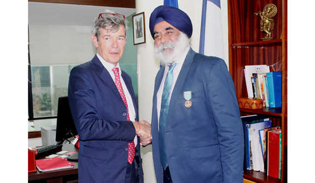Karan Anand received the medal from Yves Perrin, consul general of France in Mumbai