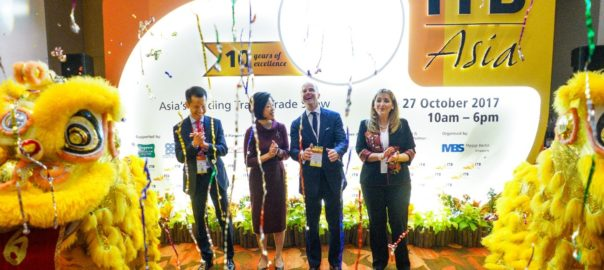 The ribbon-cutting ceremony at the show floor of ITB Asia