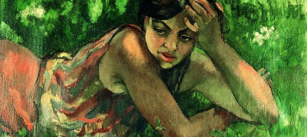 Hungarian gypsy girl, by Amrita Sher-Gil, done in 1932 during a summer vacation at the Hungarian village, Zebegery