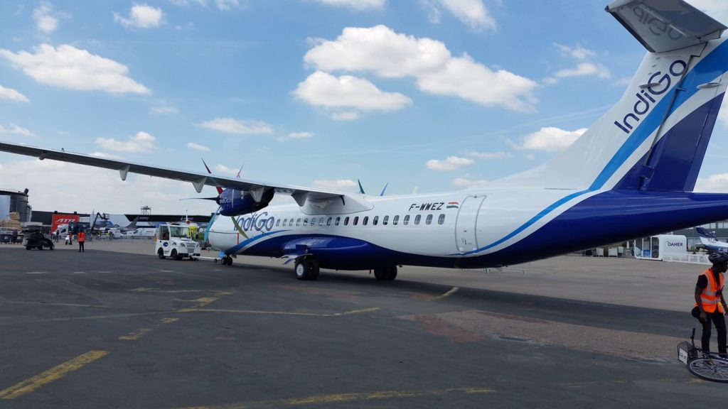 The ATR 72-600 in IndiGo colours showcased in Paris Air Show