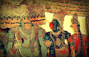 A traditional shadow puppet show of Hanuman and Ravana in Andhra Pradesh