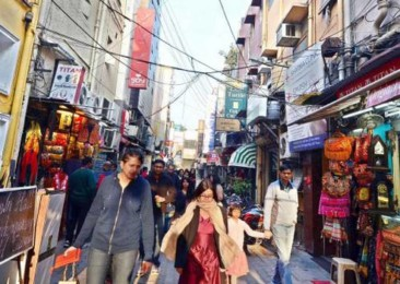The upscale Khan Market in New Delhi