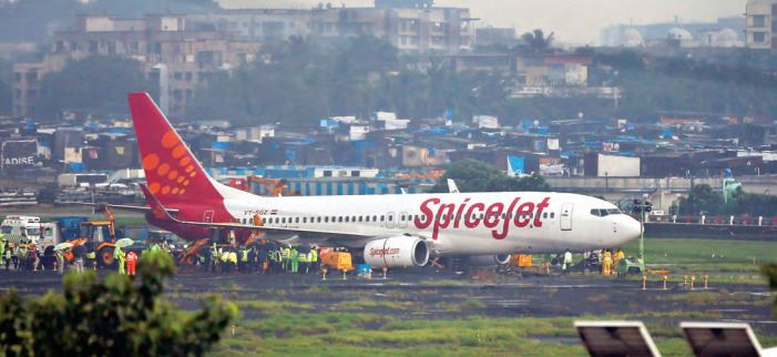 A SpiceJet flight overshot the runway on landing at Chhatrapati Shivaji International Airport (CSIA) in Mumbai due to heavy rains