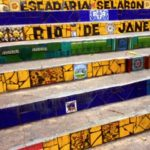Though the Selaron Steps are surrounded with reds, the colours of the Brazilian flag- green, blue and yellow can also be widely spotted here