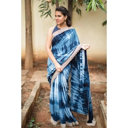 Navy Blue Rayon Shibori Tie Dye Printed Saree Photo: Looksgud.In