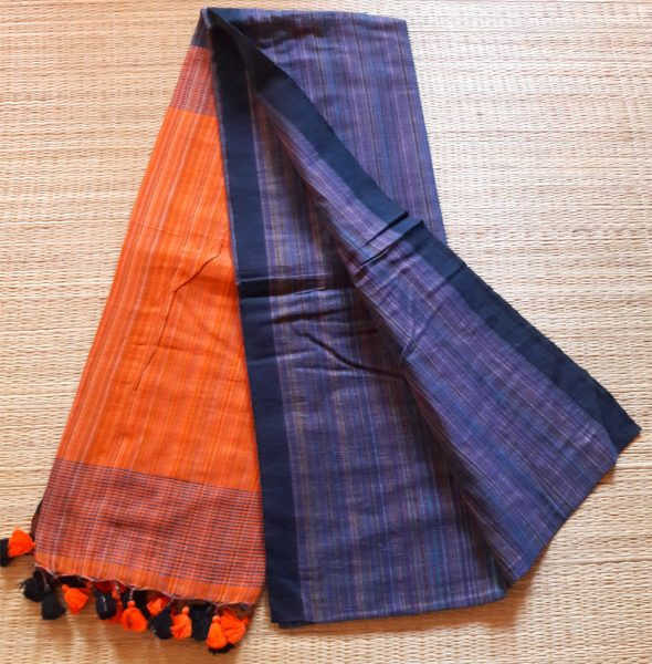 Multi-coloured Khadi saree