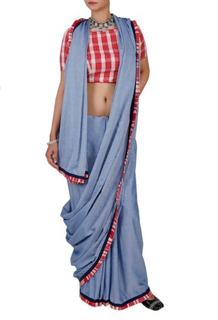 Chambray saree resembling denim Photo: Tjori