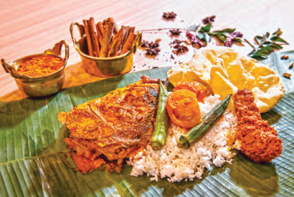 Food served in Malaysia in traditional south Indian style