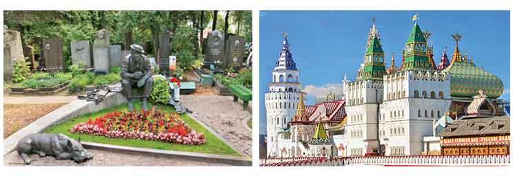 Clockwise from left: Bunker 42; Novodevichy Cemetery; Izmailovo Kremlin; Lenin's Mausoleum