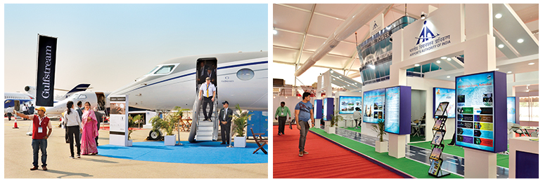 Above: The AAI exhibiting its ATC Tower and other highlights; Below: Aircraft on display