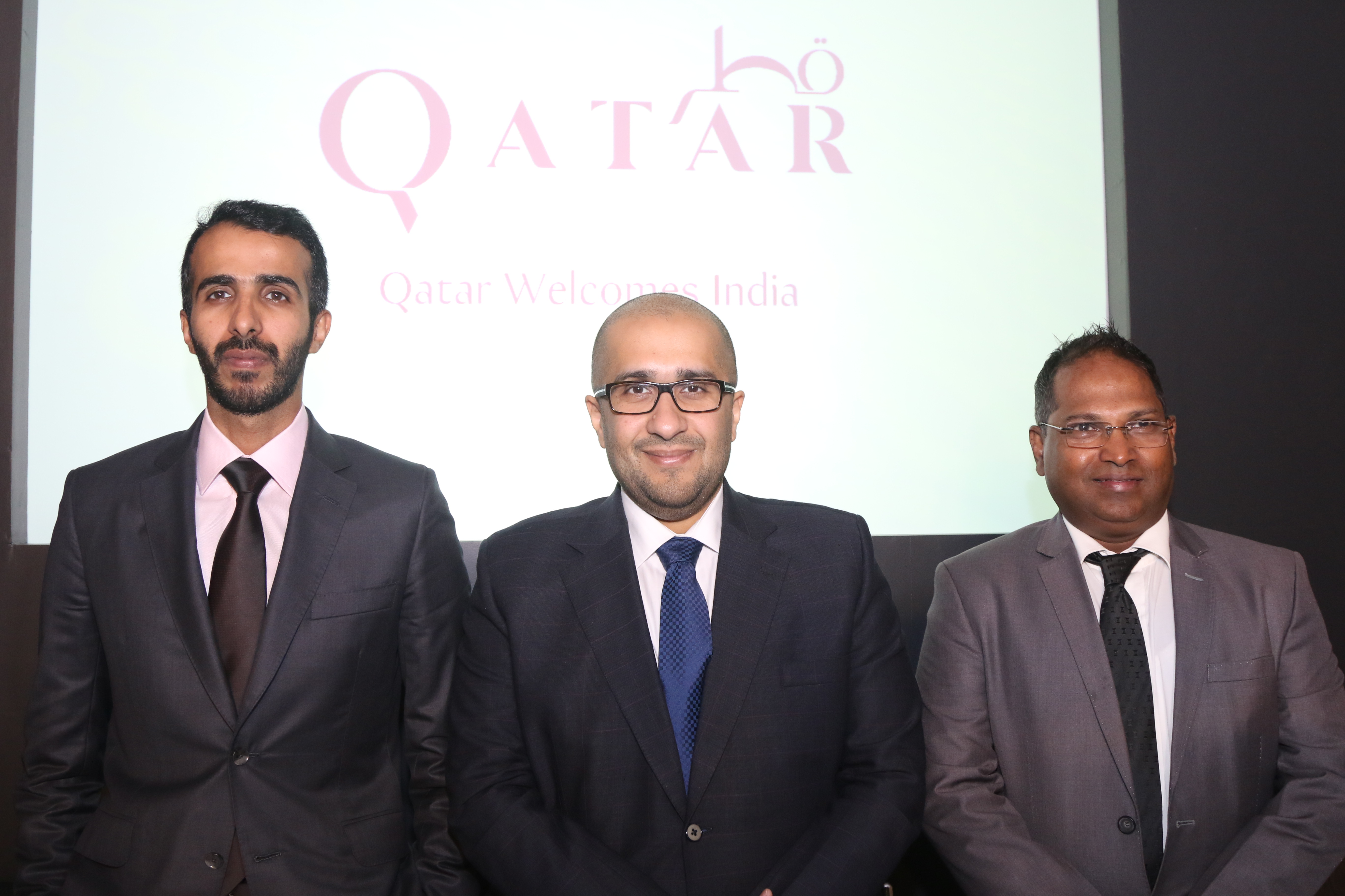 (Left to right) Rashed AlQurese, Chief Marketing & Promotions Offer, Hassan Al Ibrahim, Chaiman QTA and Joseph Fernandes, QTA India