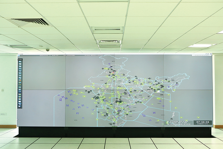Depiction of air traffic movement over the Indian airspace