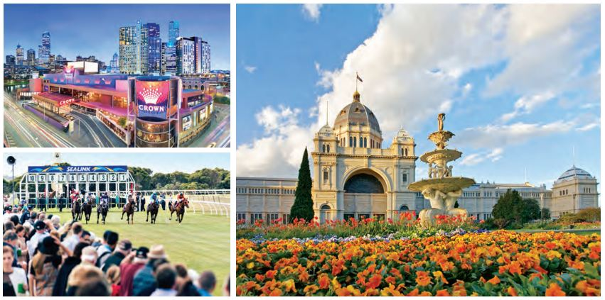 Clockwise from bottom left: Horse race; Crown casino; Royal Exhibition Building