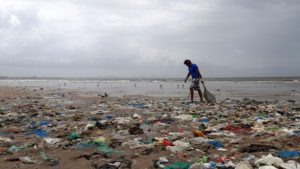 Scattered plastic wrappers, bags, cups and bottles are a common sight in India