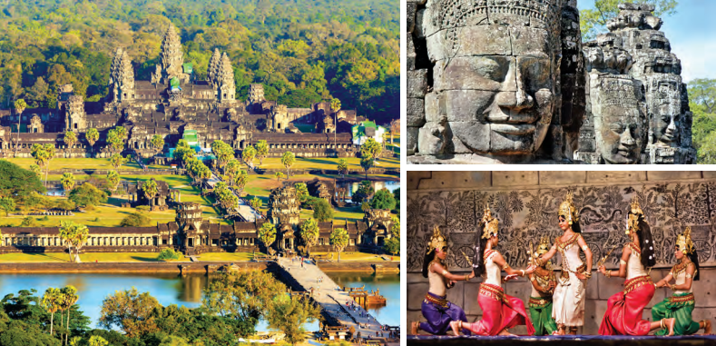 Left: An aerial view of Angkor Wat temple; Top right: Bayon Temple at Angkor Thom; Bottom right: No visit to Cambodia is complete without attending its traditional dance - Apsara Khmer