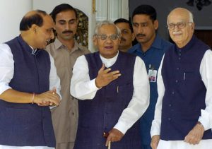 Atal Bihari Vajpayee with Rajnath Singh and LK Advani