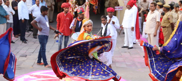 The folk dance is the highlight during the procession