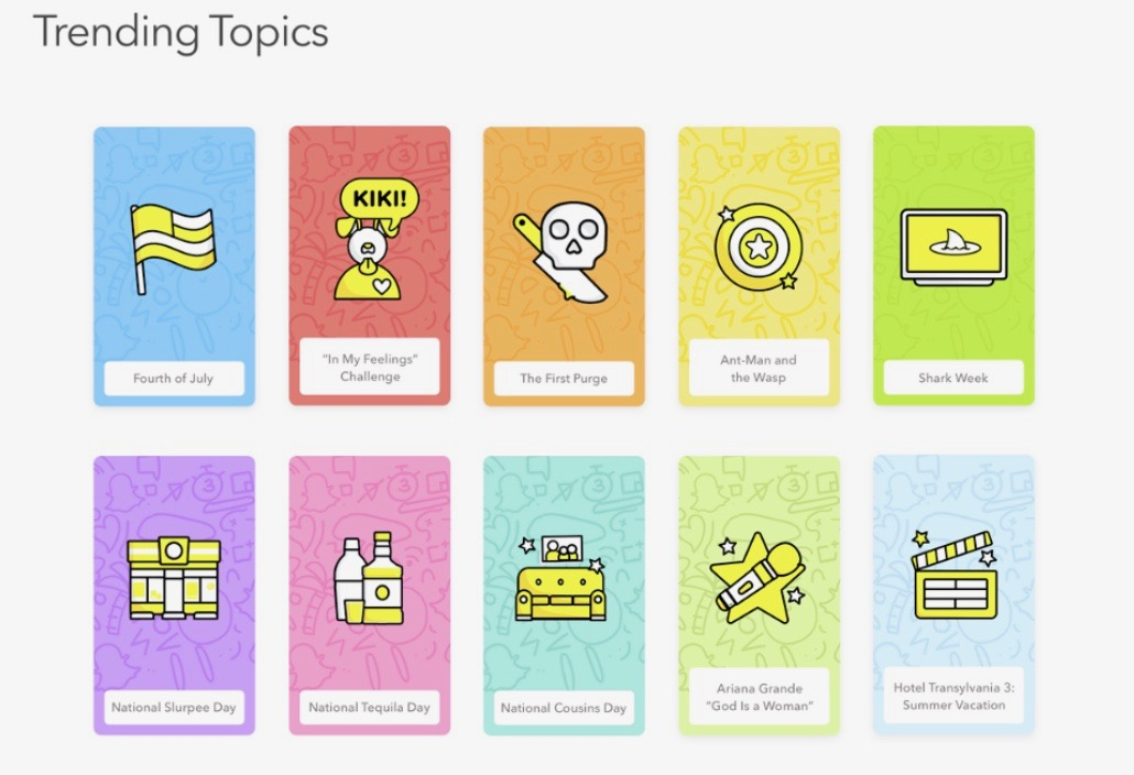 Snapchat's updated 'Trending Topics' feature with key topics generating discussion among users within the app