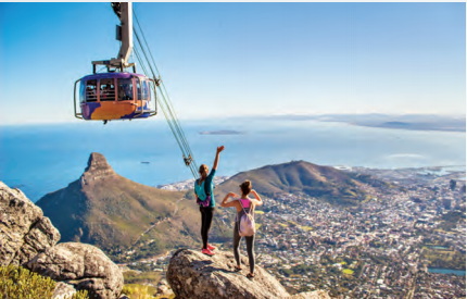 Enjoy the panoramic views at Cape Town's Table Mountain through their aerial cableway