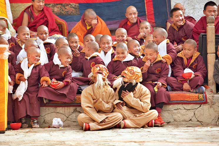 Clockwise from top: The Everest region offers immense opportunities for adventure; A village in the Annapurna South; Young monks from a monastery