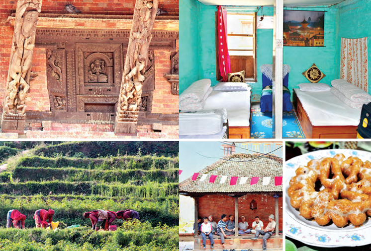 Clockwise from top left (facing page): Panauti has numerous temples, offers basic home stay facilities with numerous activites such as cooking and a walk through villages and its surroundings