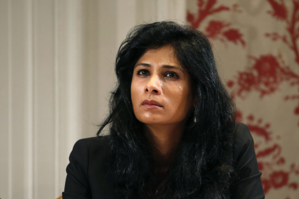 Gita Gopinath at a conference of central bankers hosted by the Bank of France in 2014.