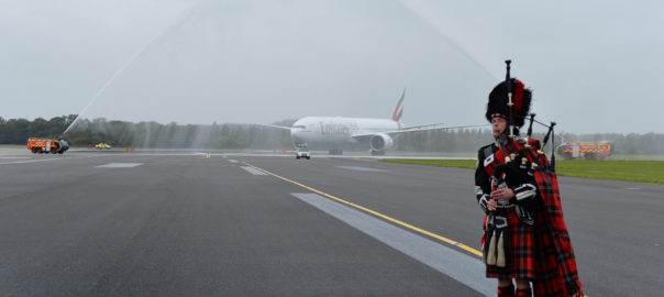 An Emirates Boeing 777-300ER, EK 0023, is met with a water cannon salute after it touches down in Edinburgh Airport today for the airline's newest service launch in Scotland's capital. PRESS ASSOCIATION. Photo. Picture date: Wednesday June 6, 2018. Photo credit should read: Mark Runnacles/PA Wire