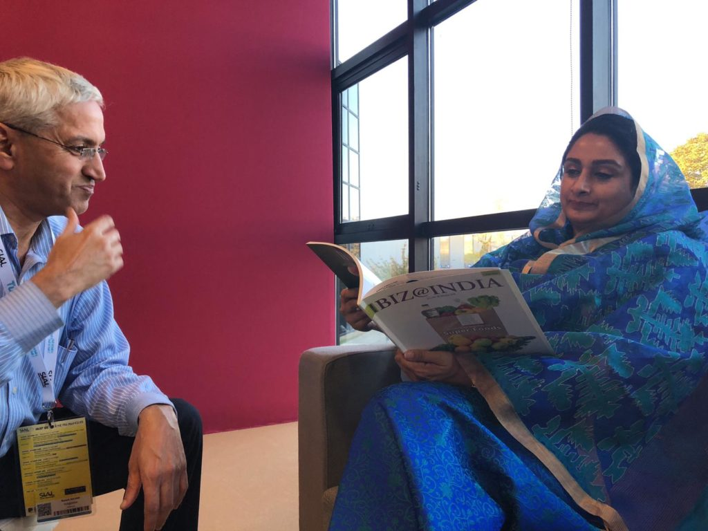 Harsimrat Kaur Badal reading Biz@India magazine