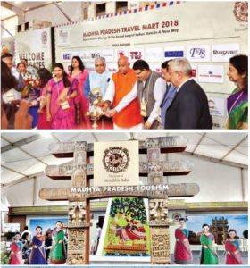 Inauguration of MPTM 2018 by Hari Ranjan Rao, principal secretary, Madhya Pradesh Tourism along with Pramod Kumar, tourism minister of Bihar as well as representatives of the leading tourism associations
