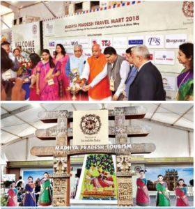 Inauguration of MPTM 2018 by Hari Ranjan Rao, principal secretary, Madhya Pradesh Tourism along with Pramod Kumar, tourism minister of Bihar as well as representatives of the leading tourism associations