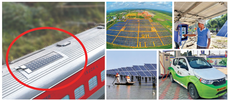 (Clockwise from L-R) The World's First Fully Solar-Powered Train; Solar field Airport in India; Solar Power Irrigration System; Solar energy power electricity renewable energy solar panel