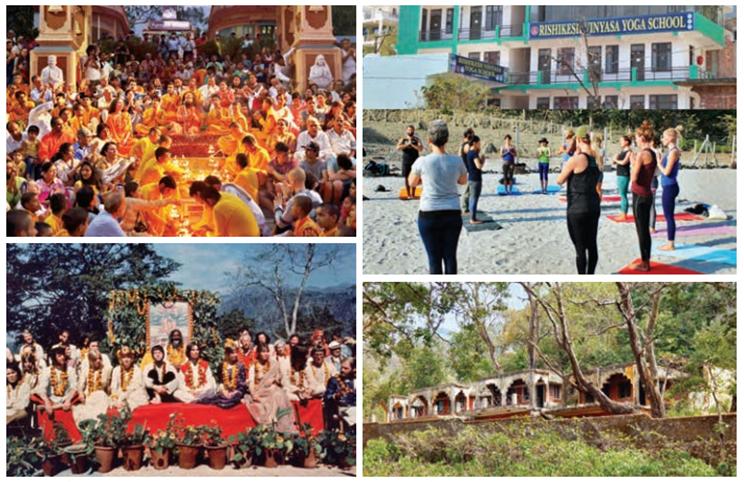 Le rituel de la Ganga aarti à Rishikesh ; Rishikesh est connue comme la capitale du yoga ; Les Beatles dans l'ashram du Maharishi Mahesh Yogi à Rishikesh ; l'ashram des Beatles ;