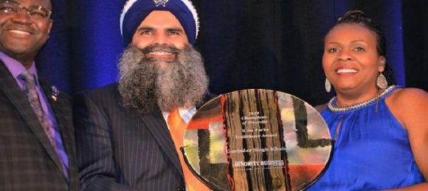 Gurinder Singh Khalsa receiving the Rosa Parks Trailblazer award