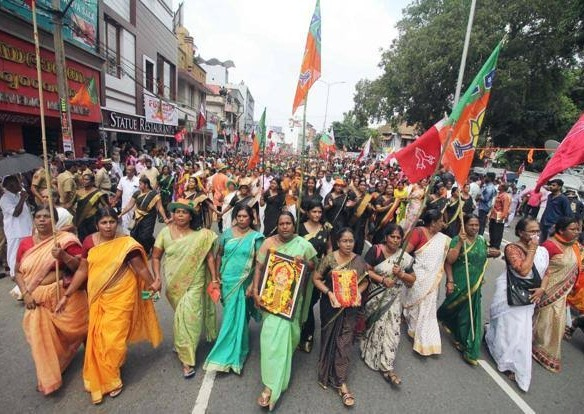 Angry women protests on streets for entry into the temple