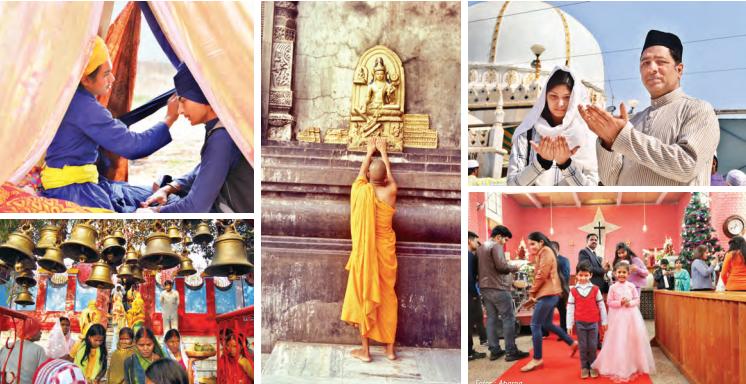 De izquierda a derecha: devotos sijs en Punjab; templo hindú en Jarkhand; monje budista en Ladakh; musulmanes orando en Rayastán; celebraciones de Navidad en Delhi
