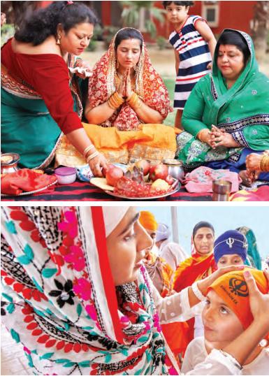 Arriba: mujeres hindúes realizando rituales. Abajo: un niño se cubre la cabeza antes de entrar al gurdwara