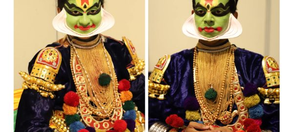 Portrait of a Kathakali dancer, in full make up and costume