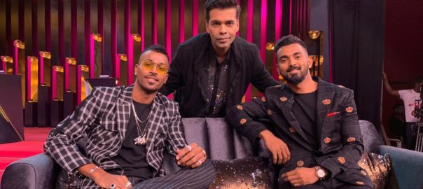 Hardik Pandya, Karan Johar et KL Rahul lors de l'émission Koffee with Karan.