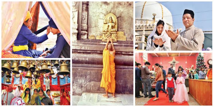 Von links nach rechts: Sikh-Anhänger in Punjab; Hindu-Tempel in Jharkhand; Buddhistischer Mönch in Ladakh; Muslime, die in Rajasthan beten; Weihnachtsfeier in Delhi