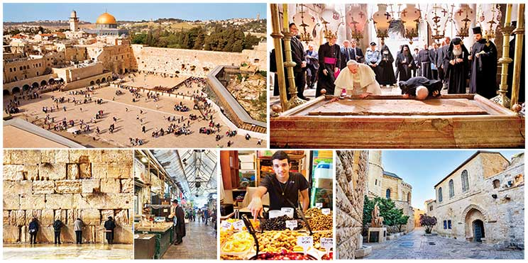 Clockwise from top: Western wall, Jerusalem; Kneeling at the Stone of Unction; People praying at the Western wall; Covered alleys of Mahane Yehuda Market; Man selling pickled olives