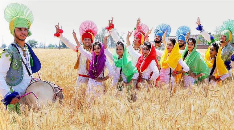 Baisakhi celebrations in traditional attire